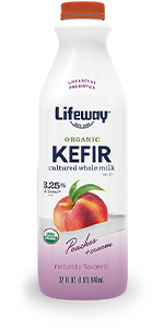 Organic Peaches and Cream Whole Milk Kefir 32oz Bottle